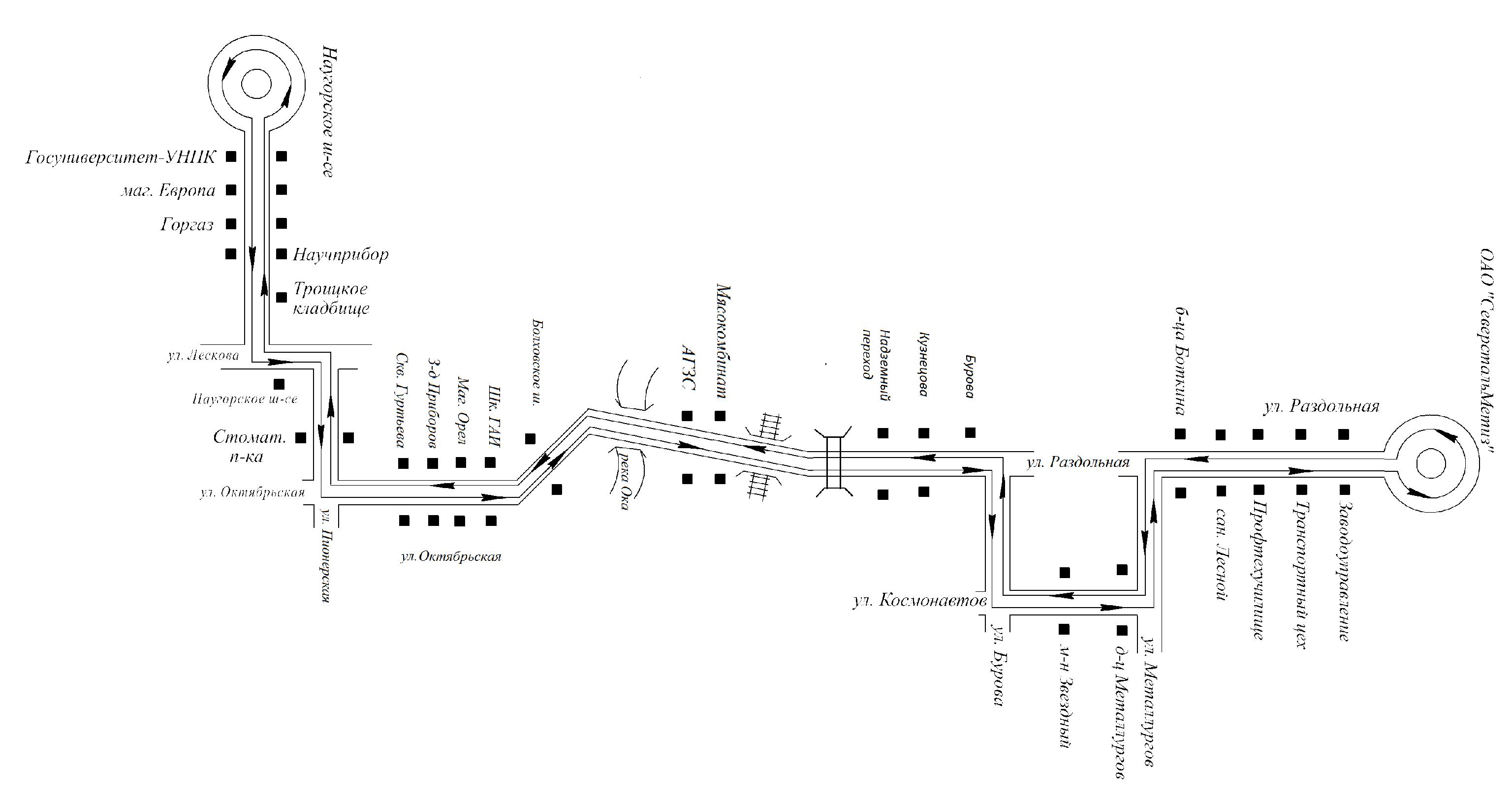 Схема маршрута 14 в астане